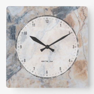 Naturale Marble Stone Texture Print Square Wall Clock