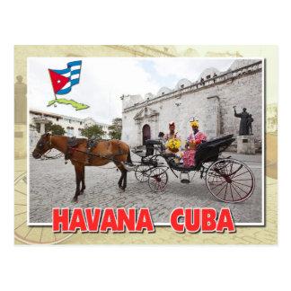 Naturales en traje en el carro, La Habana, Cuba Tarjeta Postal