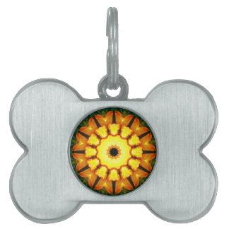 Naturaleza anaranjada del iris amarillo, placa mascota