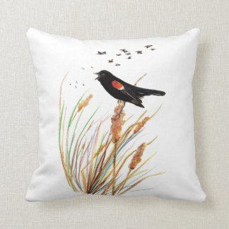 Naturaleza animal linda del mirlo de alas rojas de cojín