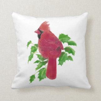 Naturaleza cardinal del pájaro de la acuarela orig cojin