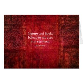 Naturaleza de Emily Bronte y cita de los libros Tarjeton
