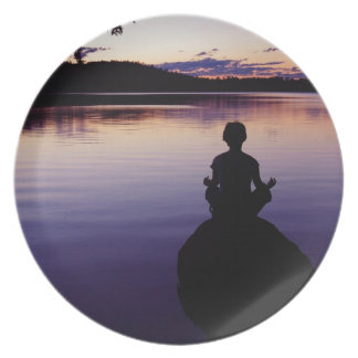 Naturaleza de la meditación de la calma de la yoga plato de comida