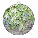 Naturaleza de la vid de uva y fotografía del tabla dardos
