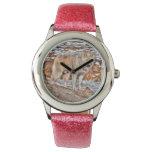 Naturaleza de White Wolf y diseño de la fauna Relojes De Pulsera