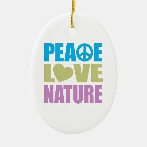 Naturaleza del amor de la paz adorno navideño ovalado de cerámica