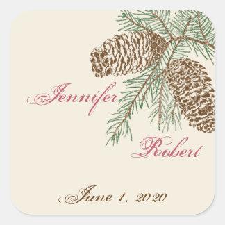 Naturaleza del cono del pino en el sello poner pegatinas cuadradas