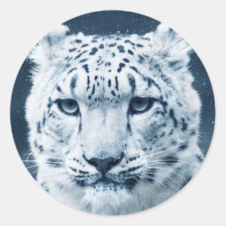 Naturaleza del gato montés de la nieve del pegatina redonda