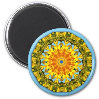Naturaleza del girasol, Flor-Mandala Imán Redondo 5 Cm