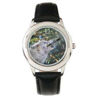 Naturaleza del lobo del grito y diseño árticos de reloj de mano