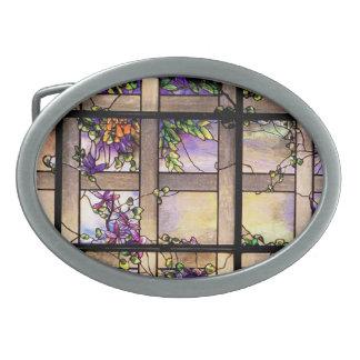 Naturaleza del vitral de Nouveau Tiffany del arte Hebillas Cinturón Ovales