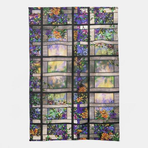 Naturaleza del vitral de Nouveau Tiffany del arte Toalla De Mano