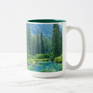 Naturaleza Drinkware del desierto del lago forest Taza Dos Tonos