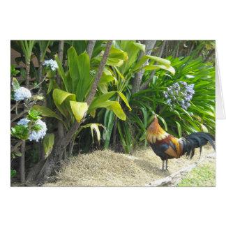 Naturaleza en blanco del gallo tarjeta de felicitación