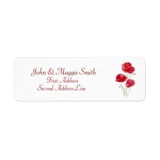 Naturaleza floral de la amapola roja - etiqueta de etiqueta de remite