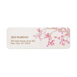 Naturaleza floral de las flores de cerezo rosadas etiqueta de remitente