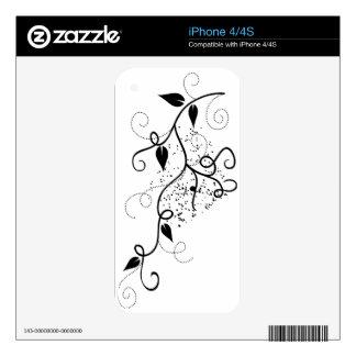 Naturaleza floral elegante femenina de la rama del calcomanía para iPhone 4S