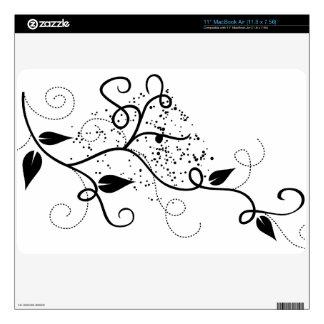 Naturaleza floral elegante femenina de la rama del MacBook air calcomanía