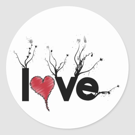 Naturaleza florida del amor pegatina redonda