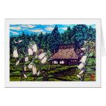 Naturaleza japonesa fresca de la flor de la casa d tarjeton