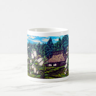 Naturaleza japonesa fresca de la flor de la casa taza de café