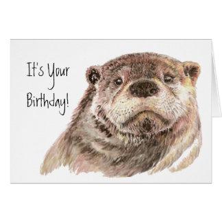 Naturaleza linda de la nutria del cumpleaños de la tarjeta de felicitación