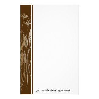 Naturally Beautiful: Brown border with Ecru Flower Stationery