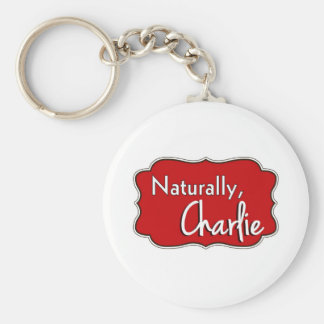 Naturally, Charlie Logo 2 Basic Round Button Keychain