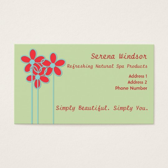 Naturally Fresh Trendy Floral Custom Business Card