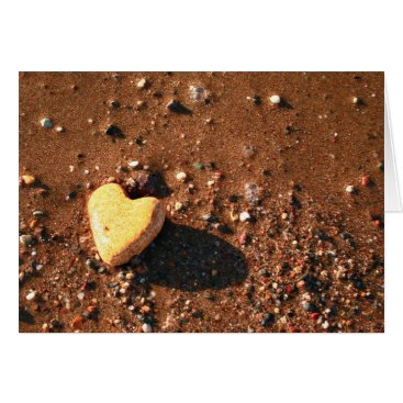 Beach Themed Naturally Heart Shaped Stone On Sand Card