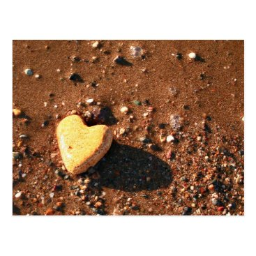 Beach Themed Naturally Heart Shaped Stone On Sand Postcard