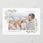 "Naturally Joyful | Holiday Photo Card<br><div class=""desc"">Send holiday greetings to friends and family in chic style with our elegant photo cards. Graceful sprigs of painted watercolor mistletoe frame your photo,  with your custom greeting (shown with ""joy to the world"") at the top and your family name(s) at the bottom.</div>"