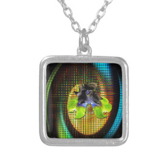 Nature abstractly lily square pendant necklace