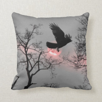 Nature and Crow Throw Pillow
