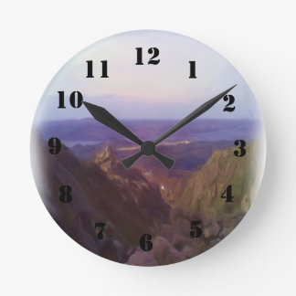 Nature and mountain oil paint round clock