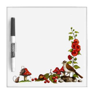Nature Art: Bird, Mice, Toadstools, Ladybugs Dry-Erase Boards