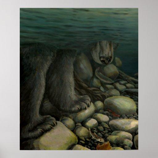 Nature Art Poster Salmon Fishing Bear Art Print