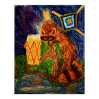 NATURE ART POSTERS - INDIAN SUMMER - RACCOON GIFT