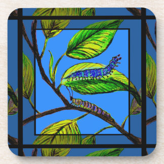 Nature Art with Caterpillar on Drink Coaster Set