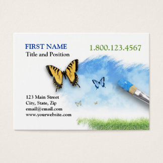Nature Artist Painting Cloud Sky with Butterfly Business Card