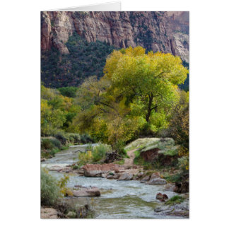 Nature Autumn Fall Landscape with River Greeting Card