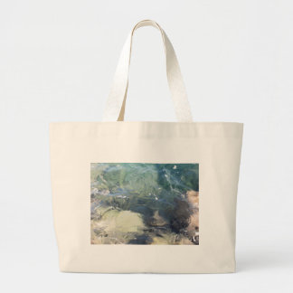 Nature background of transparent sea water flowing jumbo tote bag