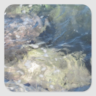 Nature background of transparent sea water flowing square sticker