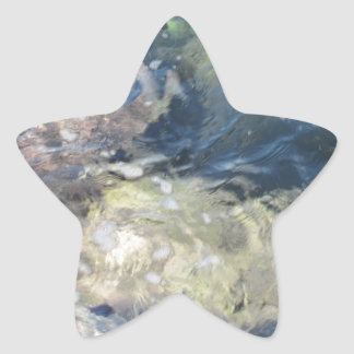 Nature background of transparent sea water flowing star sticker