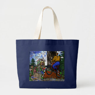 Nature Bike Ride to Work Large Tote Bag