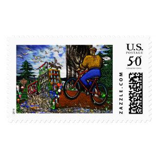 Nature Bike Ride to Work Postage Stamp