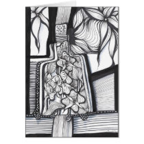 drawing,ink,abstract,minimalism,drinks,original,artsprojekt,illustration,bottle,black and white,nature,black,white,outdoors,beverage,spirit,cocktail,cool,cordial,glass,leaves,wine,beverages,art,bar, Card with custom graphic design
