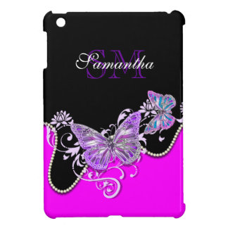 Nature butterfly pink monogram cover for the iPad mini