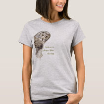 """Nature Cheaper than therapy"" Humor Watercolor Owl T-Shirt"