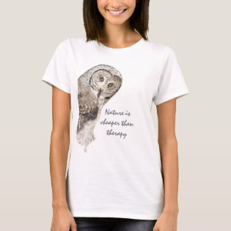 """""""Nature Cheaper than therapy"""" Humor Watercolor Owl T-Shirt"""